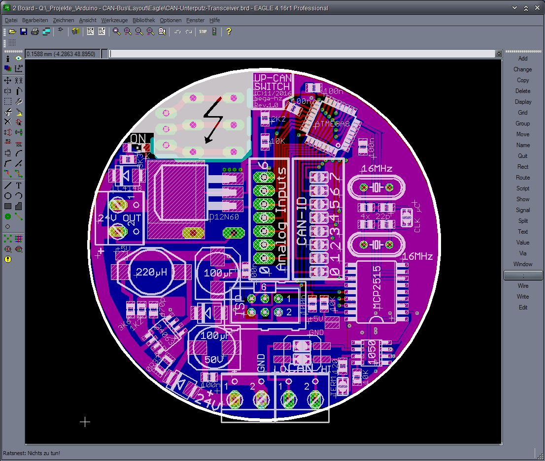 Cheap Simple Mcp2551 Mcp2515 Can Bus Set Up Page 2 Arduino Wiring Diagram Also Mini Usb Pinout I Use A Standart 4 Wire Telephone Cable For L H Gnd And 24v Every Slave Has Little Step Down Converter To Make The 5v
